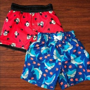 Boys DISNEY BABY & OP Swim Shorts 3-6 Months LOT